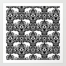 Elephant Damask Black and White Art Print