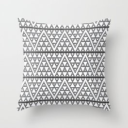 Triangles in Triangles Black on White Throw Pillow