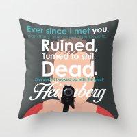 jesse pinkman Throw Pillows featuring Jesse Pinkman by Nikki White