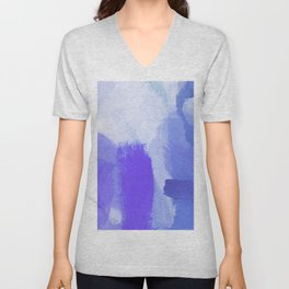 splash painting texture abstract background in blue and purple Unisex V-Neck