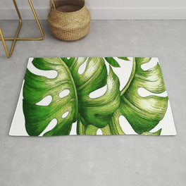 Large Green Tropical Leaves Rug