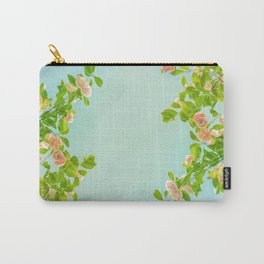 Blush Pink Camellias with Lime on Aqua Carry-All Pouch