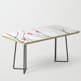 Artistic Bright Red Birds on Tree Branches Coffee Table