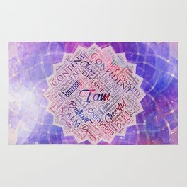I am Affirmations Word Cloud Art in lotus Rug