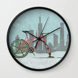 Urban Winter Cycling Wall Clock