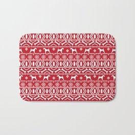 Airedale terrier fair isle silhouette christmas sweater red and white holiday dog gifts Bath Mat