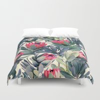 john green Duvet Covers featuring Painted Protea Pattern by micklyn