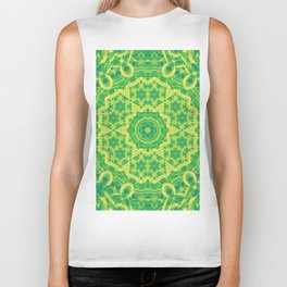 mystic mandala in green and yellow Biker Tank