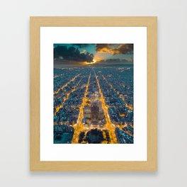 Sunset in Barcelona Framed Art Print