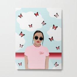 Red & Pink Butterflies and a Bitchin' T-shirt Metal Print