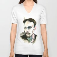 depression V-neck T-shirts featuring Portrait of Depression by ArtbyLumi