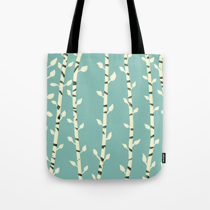 Birch branches blue pattern Tote Bag
