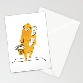 Woman holding baguettes Stationery Cards