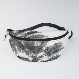 B&W Palm Tree Print | Black and White Summer Sky Beach Surfing Photography Art Fanny Pack