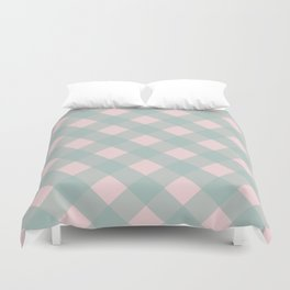 Pink & Mint Checkered Pattern-Mix and Match with Simplicity of Life on #Society6 Duvet Cover