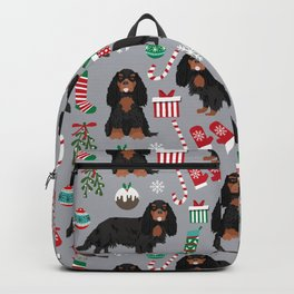 Cavalier King Charles Spaniel black and tan christmas dog gifts pet friendly Backpack