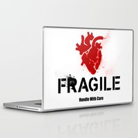 anatomical heart Laptop & iPad Skins featuring Fragile Anatomical Heart(RED) by J ō v