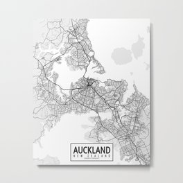 Auckland City Map of New Zealand - Light Metal Print