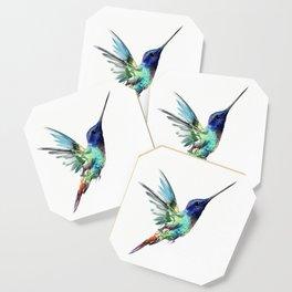 Flying Hummingbird flying bird, turquoise blue elegant bird minimalist design Coaster