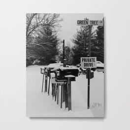 snowy mailboxes Metal Print