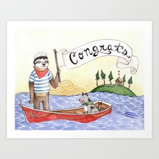 Sloth Congrats Art Print