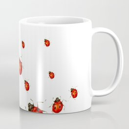 ABSTRACT RED LADY BUGS CRAWLING ON WHITE COLOR Coffee Mug