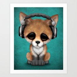 Cute Red Fox Cub Dj Wearing Headphones on Blue Art Print