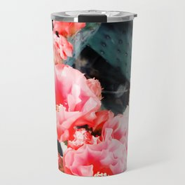 closeup blooming red cactus flower texture background Travel Mug