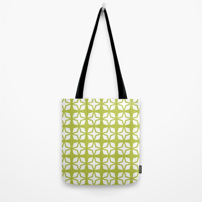 Mid Century Modern Star Pattern Chartreuse 552 Tote Bag