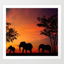 Elephants in the African sunset Art Print