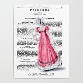 Regency Fashion Plate 1819, La Belle Assemblee Poster
