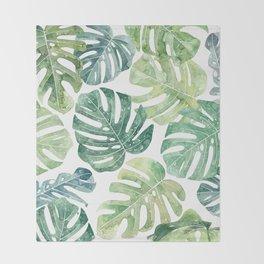 Tropical leaves Monstera leaves Jungle leaves Palm leaves Throw Blanket