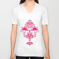 damask V-neck T-shirts featuring Flamingo Damask by Jacqueline Maldonado