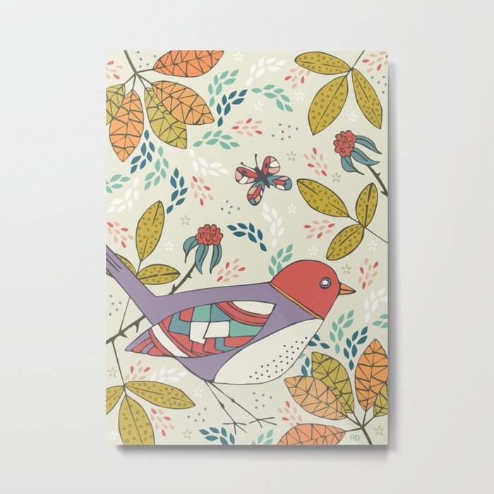 Bird and Butterfly  Metal Print