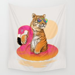 Chillin (Flamingo Tiger) Wall Tapestry