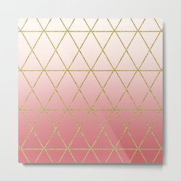Rose Gold Geometric Metal Print