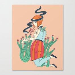 Cactus Snake Woman Canvas Print