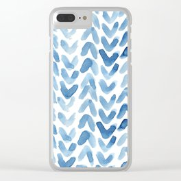 Blue Chevron Watercolour Clear iPhone Case