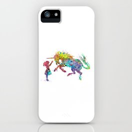 Girl and Unicorn Colorful Watercolor Kids Art iPhone Case
