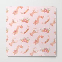 Floral Deer Neck Gator Cute Deer Pink Antlers Metal Print