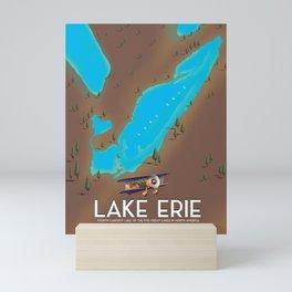 Lake Erie, USA lake Map Mini Art Print