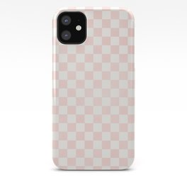 Blush Pink Coral Checkers iPhone Case