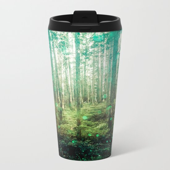 Magical Green Forest Metal Travel Mug