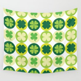 Lucky Irish Four Leaf Clovers Polka Dot Pattern Wall Tapestry