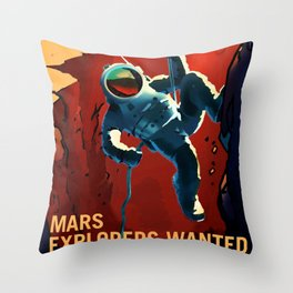 Mars Explorer Wanted Journey to Mars Colonization Recruitment Poster Throw Pillow