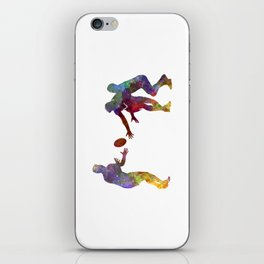 Rugby men players 02 in watercolor iPhone Skin