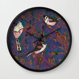 Lovely Little Long-tailed Tits Wall Clock
