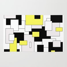 Squares - yellow, black and white. Rug