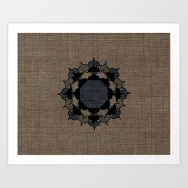 Lotus Mandala on Fabric Art Print
