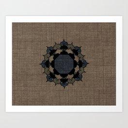 Lotus Mandala on Fabric Art Print
